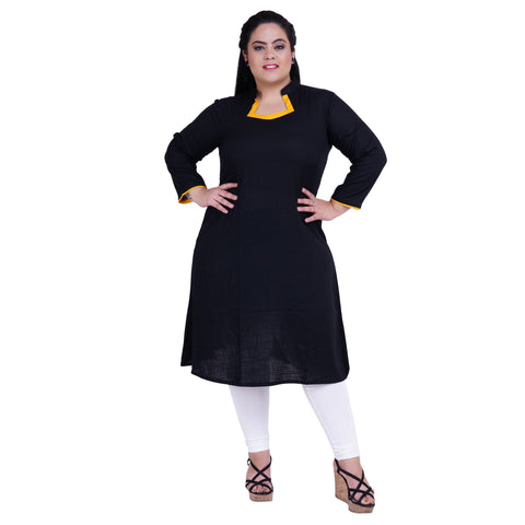 Black Color Rayon Women's Stitched Kurti - FBW_33
