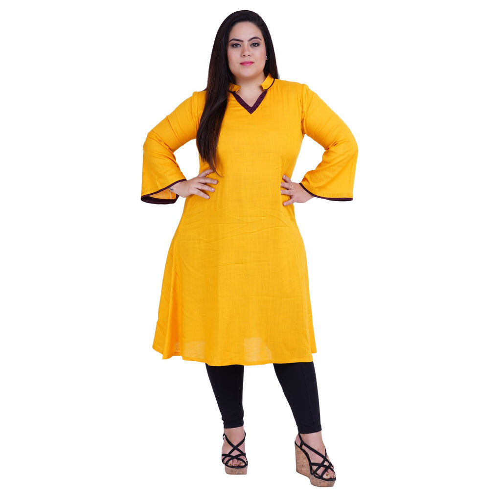 Buy Yellow Color Rayon Women's Stitched Kurti
