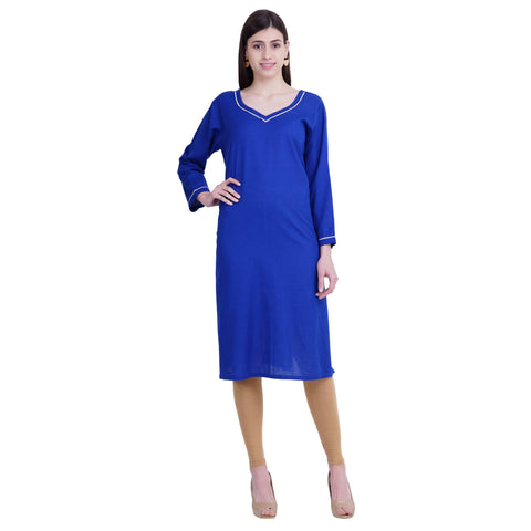 Blue Color Rayon Women's Stitched Kurti - FBW_44