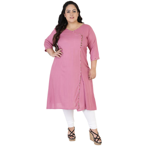 Pink Color Rayon Women's Stitched Kurti - FBW_50