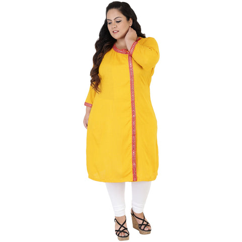 Yellow Color Rayon Women's Stitched Kurti - FBW_51