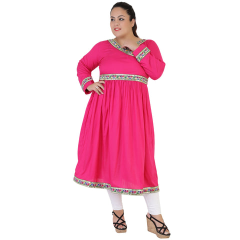 Pink Color Rayon Women's Stitched Kurti - FBW_53