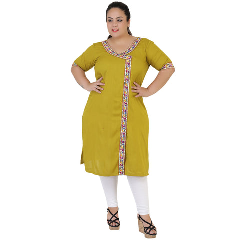 Mehendi Green Color Rayon Women's Stitched Kurti - FBW_54