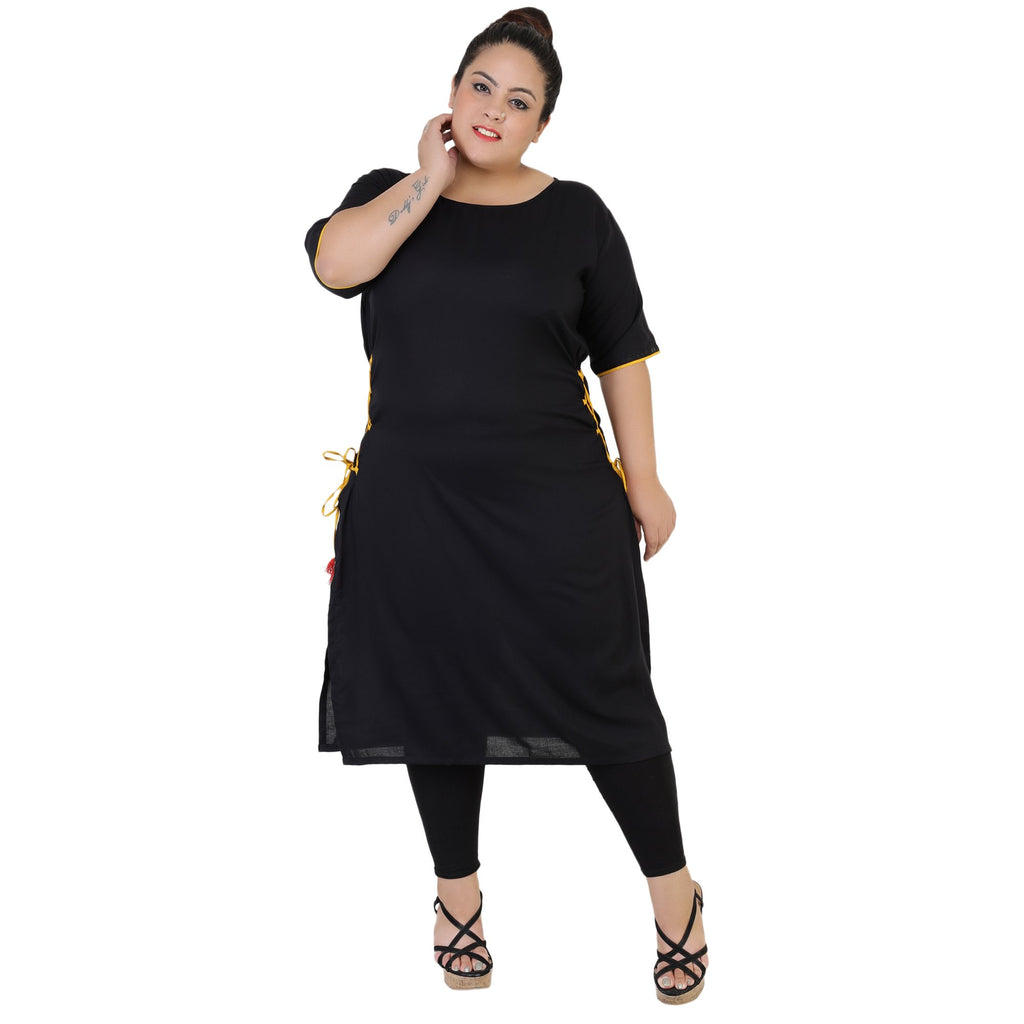 Buy Black Color Rayon Women's Stitched Kurti