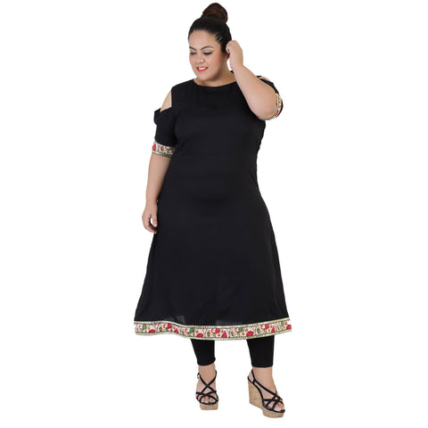 Black Color Rayon Women's Stitched Kurti - FBW_63