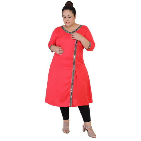 Hot Pink Color Rayon Women's Stitched Kurti - FBW_66