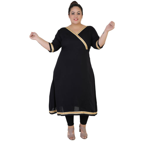 Black Color Rayon Women's Stitched Kurti - FBW_67