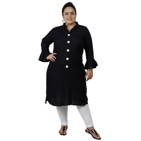 Black Color Rayon Women's Stitched Kurti - FBW_70