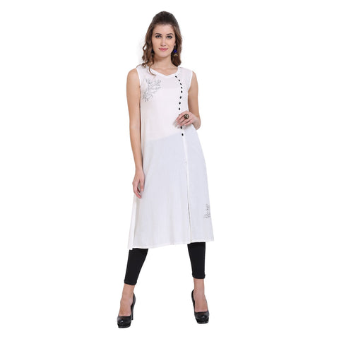 Cream Color Rayon Women's Stitched Kurti - FBW_73