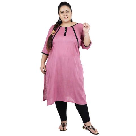 Pink Color Rayon Women's Stitched Kurti - FBW_74
