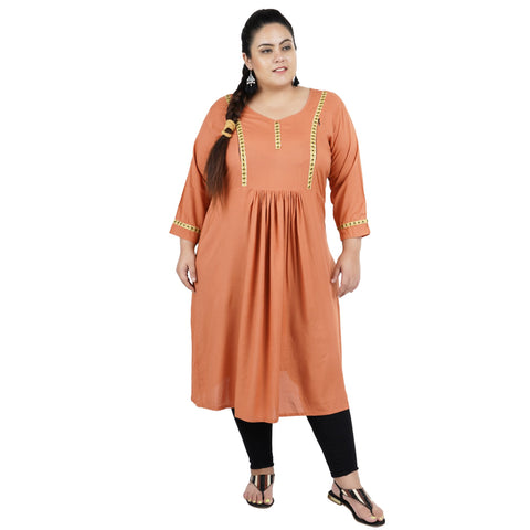 Light Brown Color Rayon Women's Stitched Kurti - FBW_75