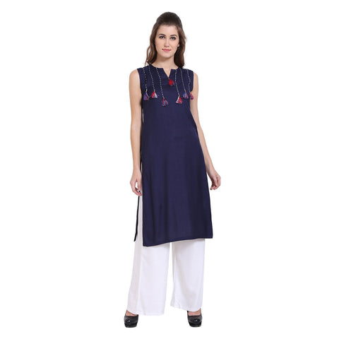 Royal Blue Color Rayon Women's Stitched Kurti - FBW_76