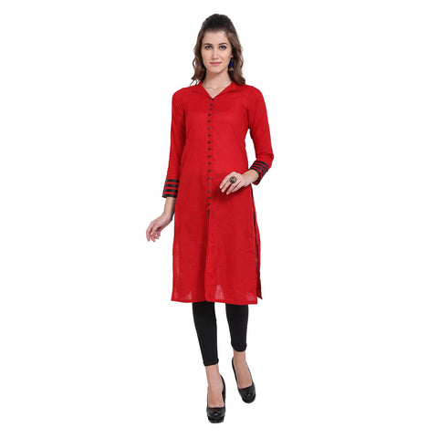 Red Color Cotton Women's Stitched Kurti - FBW_77