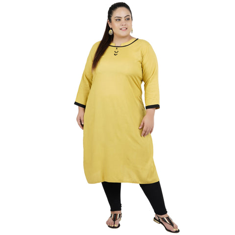 Mustard Color Rayon Women's Stitched Kurti - FBW_78