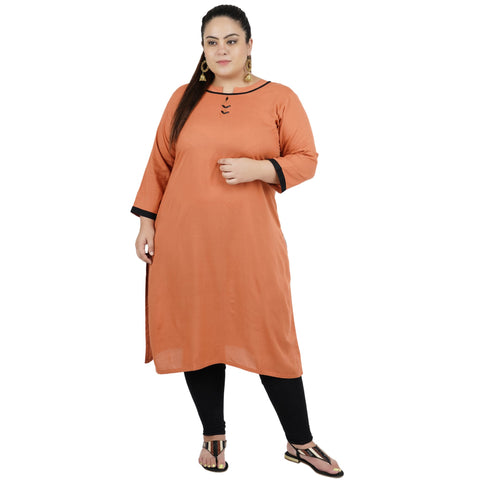 Light Brown Color Rayon Women's Stitched Kurti - FBW_79