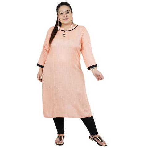 Pink Color Rayon Women's Stitched Kurti - FBW_81