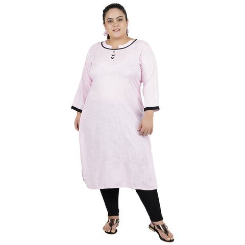 Baby Pink Color Rayon Women's Stitched Kurti - FBW_82