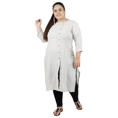 Grey Color Cotton Women's Stitched Kurti - FBW_83