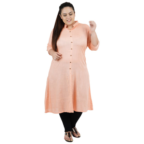 Light Orange Color Rayon Women's Stitched Kurti - FBW_84