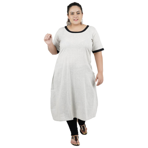 Grey Color Cotton Women's Stitched Kurti - FBW_85