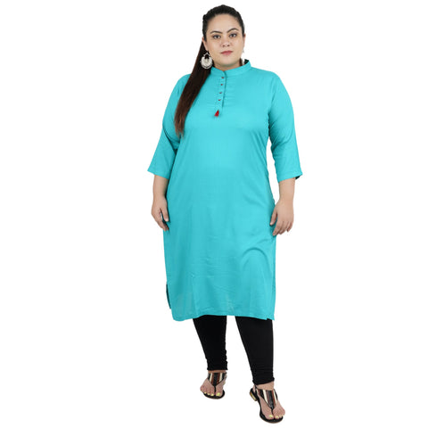 Firozi Color Rayon Women's Stitched Kurti - FBW_86
