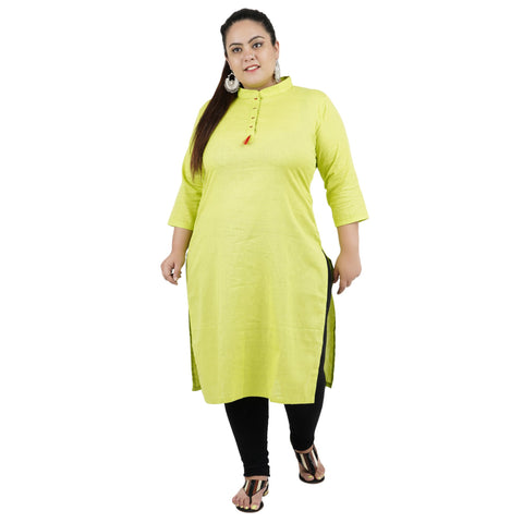 Lemon Yellow Color Rayon Women's Stitched Kurti - FBW_87
