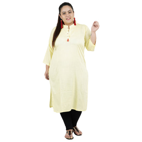 Lemon Yellow Color Rayon Women's Stitched Kurti - FBW_88