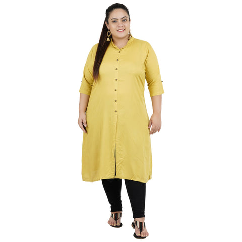Khaki Color Rayon Women's Stitched Kurti - FBW_89