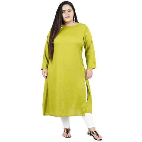 Green Color Rayon Women's Stitched Kurti - FBW_90