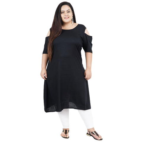Black Color Rayon Women's Stitched Kurti - FBW_91