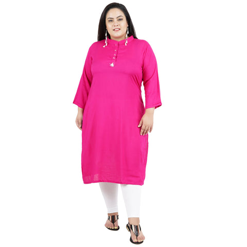 Pink Color Rayon Women's Stitched Kurti - FBW_92