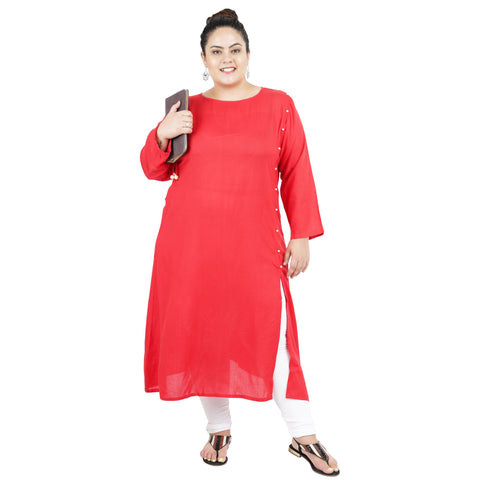 Red Color Rayon Women's Stitched Kurti - FBW_93