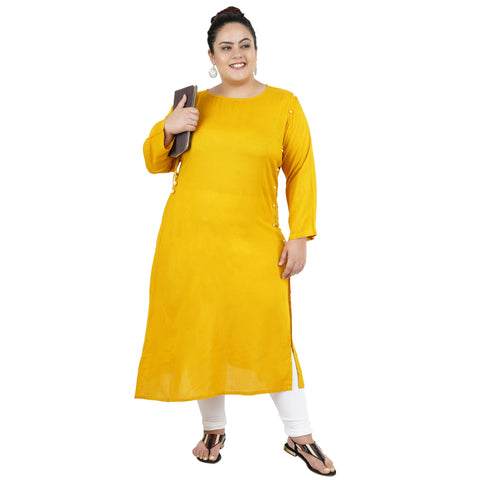 Yellow Color Rayon Women's Stitched Kurti - FBW_94