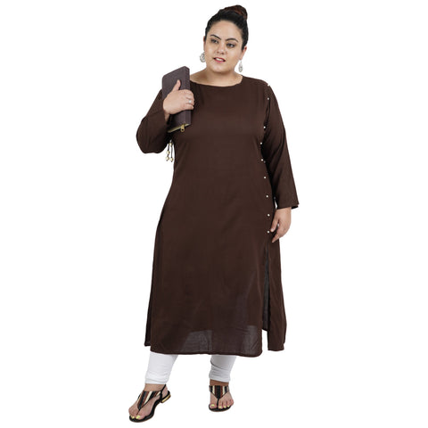 Brown Color Rayon Women's Stitched Kurti - FBW_95