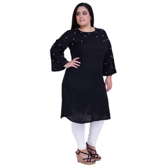 Black Color Rayon Stitched Kurti - FBW-026
