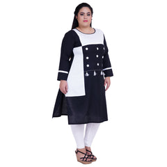 Black Color Rayon Women's Stitched Kurti - FBW_31