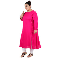Pink Color Rayon Women's Stitched Kurti - FBW_96