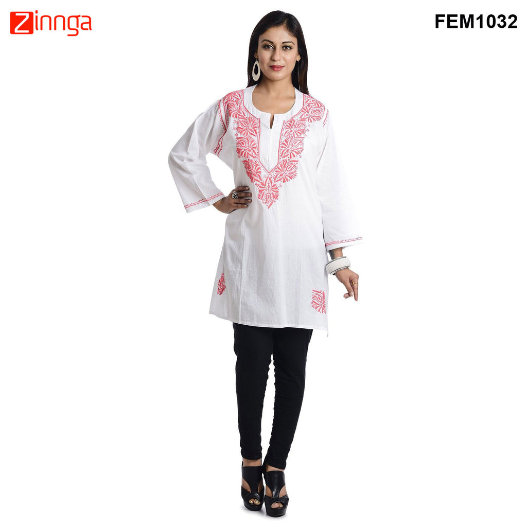 White Color Cotton Ready Made Kurti