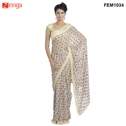 FEMEZONE-Women's Beautiful Chiffon Saree  - FEM1034