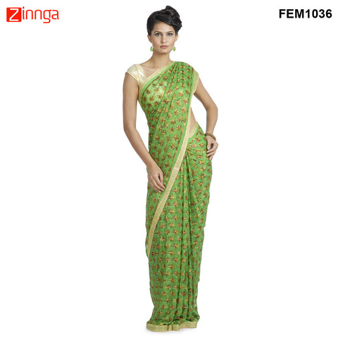 FEMEZONE-Women's Beautiful Chiffon Saree  - FEM1036