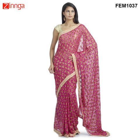 FEMEZONE-Women's Beautiful Chiffon Saree  - FEM1037