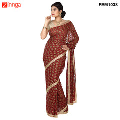 Brown Color Chiffon Saree