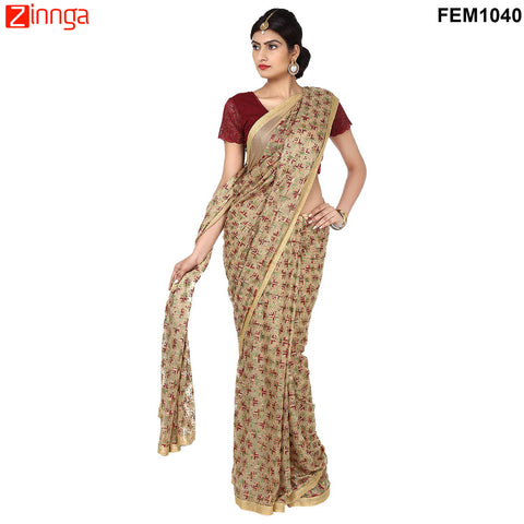 FEMEZONE-Women's Beautiful Chiffon Saree  - FEM1040 - Beige