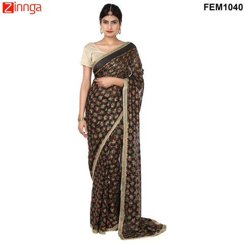 FEMEZONE-Women's Beautiful Chiffon Saree  - FEM1040 - Black