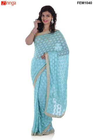 FEMEZONE-Women's Beautiful Chiffon Saree  - FEM1040 - Blue