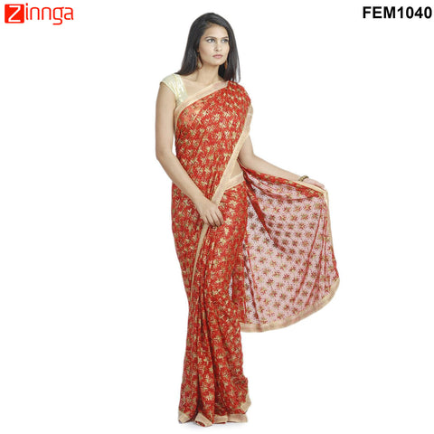 FEMEZONE-Women's Beautiful Chiffon Saree  - FEM1040 - Red