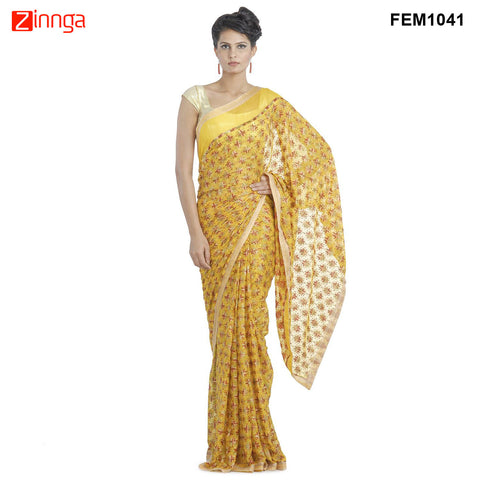 FEMEZONE-Women's Beautiful Yellow Color Chiffon Saree - FEM1041 - Yellow