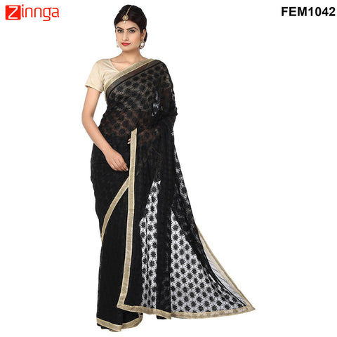 FEMEZONE-Women's Beautiful Black Color Chiffon Saree - FEM1042 - Black