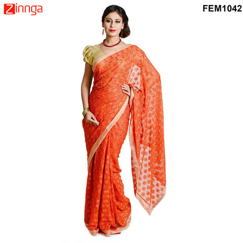 FEMEZONE-Women's Beautiful Orange Color Chiffon Saree - FEM1042 - Orange