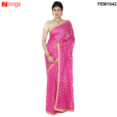 FEMEZONE-Women's Beautiful Pink Color Chiffon Saree - FEM1042 - Pink